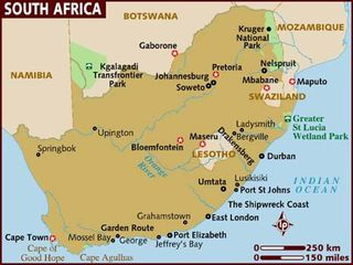 South Africa map, Lonely Planet