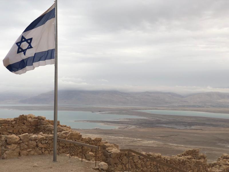 Israel flag at Masada